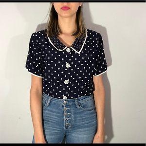 80's polka dot blouse